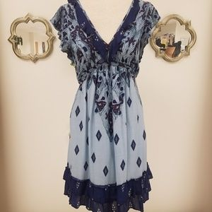 Free People Printed Dress with Ruffles